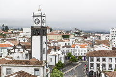 中心Ponta Delgada顶视图在亚速尔群岛 库存照片