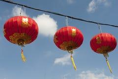 中文报纸灯笼在春节, Yaowaraj瓷城镇 免版税图库摄影