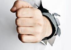 中断了拳头纸张 免版税库存照片