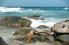 中断海岸岩石通知 免版税库存图片
