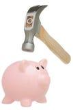 中断锤子的银行贪心 免版税库存照片