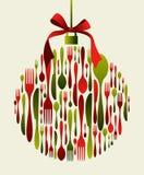 中看不中用的物品圣诞节刀叉餐具 免版税图库摄影