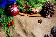 中看不中用的物品蓝色圣诞节构成玻璃 杉木锥体、冷杉分支、球和桂香在木背景 免版税库存图片