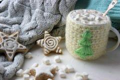 中看不中用的物品蓝色圣诞节构成玻璃 杯子用热巧克力和姜曲奇饼 图库摄影