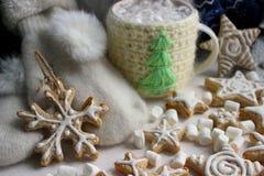 中看不中用的物品蓝色圣诞节构成玻璃 杯子用热巧克力和姜曲奇饼 免版税库存照片