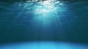 从水中看的深蓝海洋表面 免版税库存照片