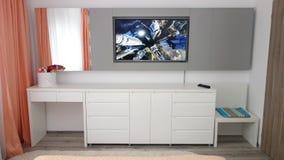 中等大小卧室公寓照片在灰色颜色、皮革现代和最低纲领派床、白色办公室和胸口,玻璃砖墙壁的, 库存图片