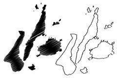 中米沙鄢地区地图传染媒介 库存例证