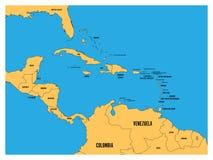 中美洲和加勒比状态政治地图 有黑国名标签的黄色土地在蓝色海背景 库存例证
