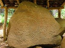 中美洲,尼加拉瓜,在奥梅特佩岛海岛上的刻在岩石上的文字 免版税库存照片