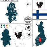 中芬兰区,芬兰地图  免版税库存图片