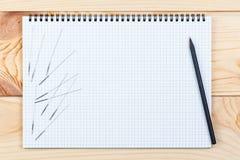 中药针灸谎言的银色针在一个笔记本,在一张木桌上 免版税图库摄影