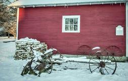 中西部冬天农场 库存图片