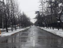 中途街道冬天 免版税库存照片