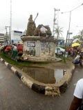 中部城市公共汽车总站,环行路公共汽车总站,贝宁,伊多状态尼日利亚 免版税库存图片