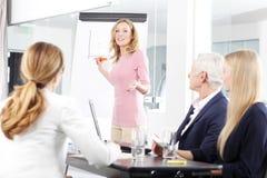 中部介绍新的想法的年迈的女实业家 免版税库存照片