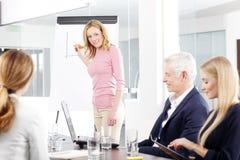 中部介绍新的想法的年迈的女实业家 免版税库存图片