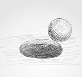 击中铁行动的球高尔夫球 免版税库存图片