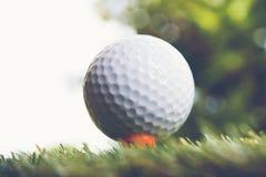 击中铁行动的球高尔夫球 免版税库存照片