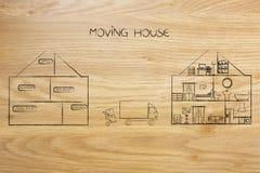 中间倒空和充分地装备了房子与搬家工人卡车 图库摄影