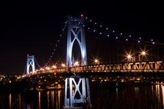 中间哈德森桥梁在晚上 库存图片