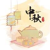中间秋天纸灯、茶壶集合和月饼在水彩绘画 库存例证