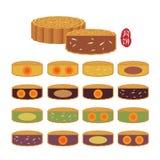 中间秋天节日食物-与另外味道的月饼 皇族释放例证