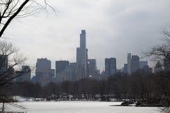 中间地区在从中央公园和结冰的podn的冬天 免版税库存照片