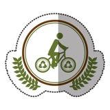 中间阴影贴纸五颜六色与有自行车的橄榄叶花冠有回收的在圈子例证的