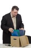 中年任政治职务的人得到袋装 免版税库存图片