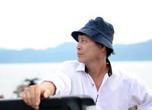 中年渔夫 免版税图库摄影