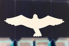 从击中玻璃的Protectionfor鸟 鸟掠食性动物贴纸  免版税库存图片