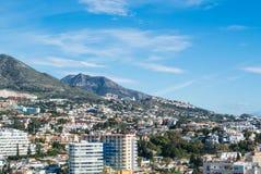 丰希罗拉,西班牙- 2017年2月7日:一个看法向丰希罗拉和它的周围、旅馆、手段和山 库存图片
