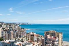 丰希罗拉,西班牙- 2017年2月7日:一个看法向丰希罗拉和它的周围、旅馆、手段和海滩地中海 免版税库存照片