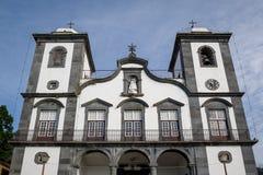 丰沙尔大教堂在Monte公园,马德拉岛海岛古迹  免版税图库摄影