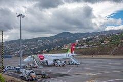 丰沙尔机场马德拉岛 库存照片