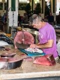 丰沙尔鱼市梅尔卡多dos Lavradores在马德拉岛海岛 库存照片