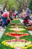 丰沙尔,马德拉岛海岛,葡萄牙花节日的准备  库存图片