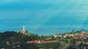 丰沙尔,马德拉岛美好的风景视图,从山的顶端 免版税库存图片
