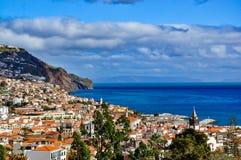 丰沙尔,马德拉岛,葡萄牙全景  免版税库存照片
