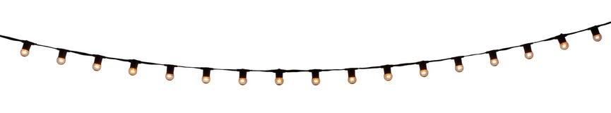 串在白色的架线的电灯泡 免版税图库摄影