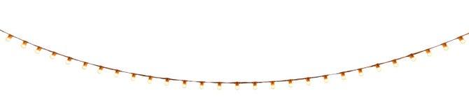 串在白色的架线的电灯泡 库存照片