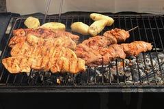串用肉和土豆在格栅 库存照片