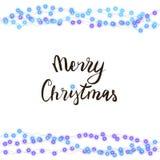 串起蓝色在白色背景隔绝的诗歌选和字法 导航圣诞快乐的例证,新年晚会装饰 库存图片