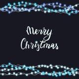 串起蓝色在黑背景隔绝的诗歌选和字法 导航圣诞快乐的例证,新年晚会装饰 库存照片