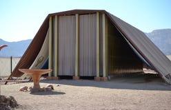 临时房屋,帐篷模型见面在Timna公园,Neqev沙漠,埃拉特,以色列 免版税库存照片