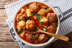 丸子与菜和草本特写镜头的蕃茄汤在bo 库存照片
