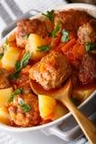丸子与菜和草本特写镜头的蕃茄汤在bo 免版税库存照片