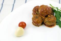 丸子用西红柿酱 免版税库存图片