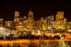 丹佛夜都市风景  库存图片